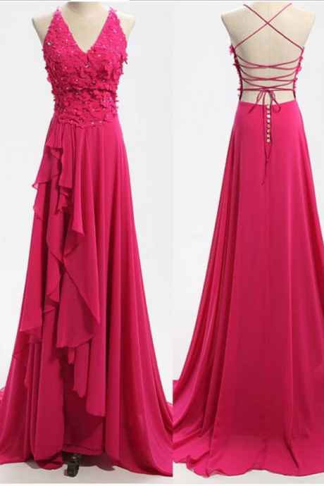 New Arrival Sexy Prom Dress, Elegant Prom Dress, Backless V-neck Evening Dresses with Appliques