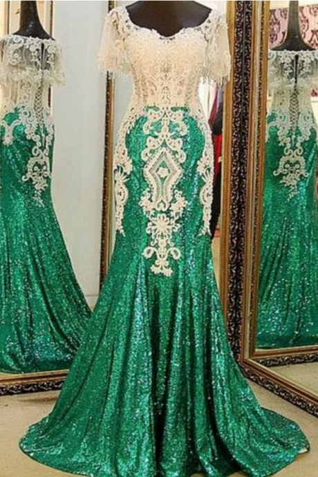 New Arrival Cap Sleeve Sparkly Green Prom Dresses with White Lace