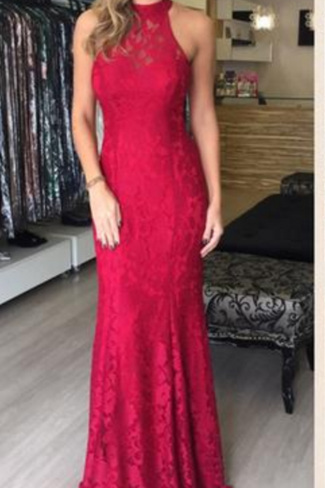 Red Lace Halter Mermaid Floor Length Prom Dresses,