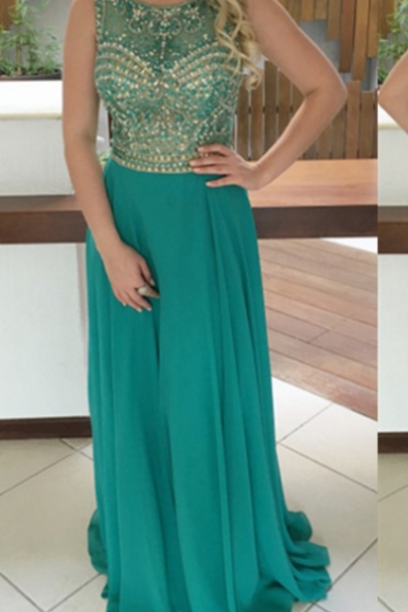 Jewel Natural Sleeveless Beading A-line Chiffon Prom Dresses