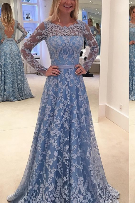 Blue Prom Dress, Lace Prom Dress, A Line Prom Dress, Boat Neck Prom Dress, Long Sleeve Prom Dress, Elegant Prom Dress, Prom Dresses
