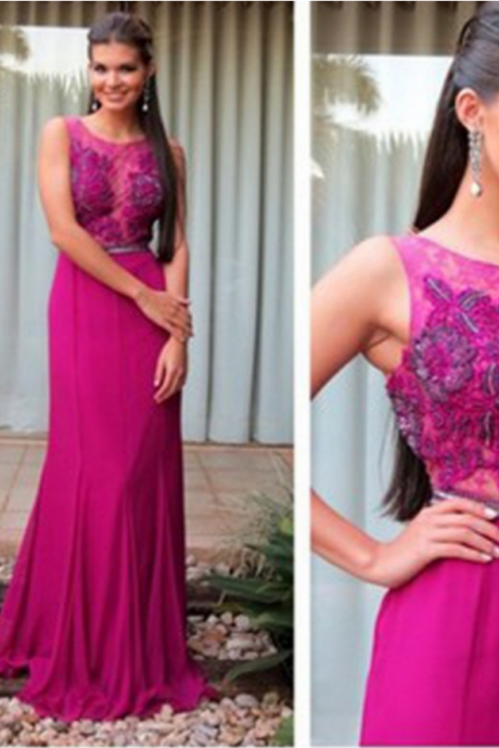 Elegant Prom Dress,A-Line Prom Dress,Appliques Prom Dress,Chiffon Evening Dress,