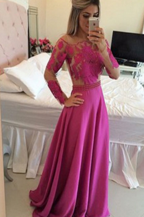Long Sleeve Prom Dress,A-Line Prom Dress,Appliques Prom Dress,Sexy Prom Dress,