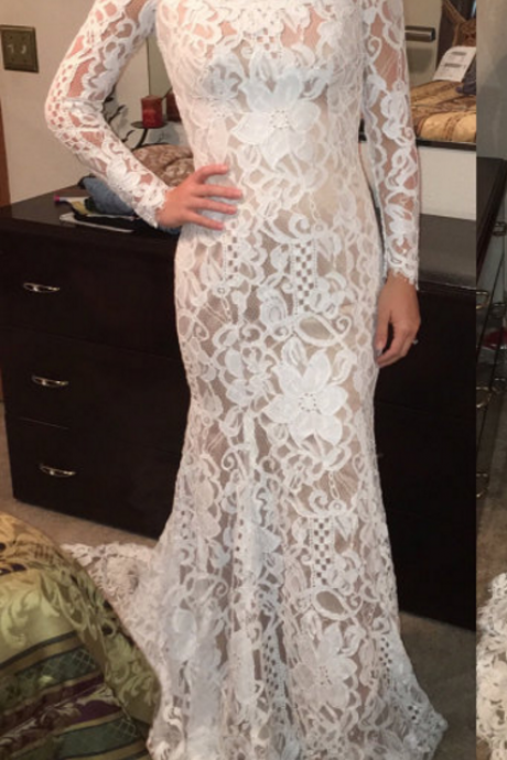 Lace Prom Dress,O-Neck Prom Dress,Mermaid Prom Dress,Long-Sleeves Evening Dress,Cheap Party Dresses,Graduation Gowns,Wedding Guest Prom Gowns