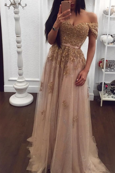 Charmpagne Prom Dress,A-line Prom Dresses,Sparkly Evening Dresses,Prom Dress