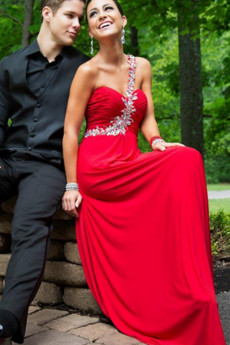 long elegant red prom dress, Luxury long beaded prom dresses,one shoulder crystal evening dresses , sexy formal prom dresses