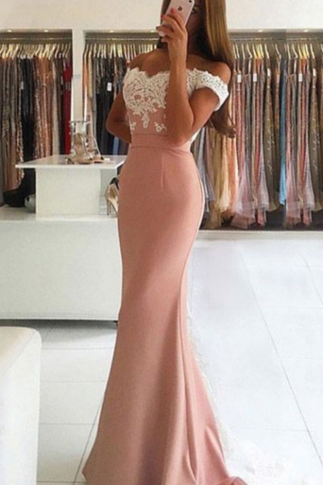 , Trumpet, Mermaid, Off-the-shoulder, Tulle Silk-like Satin, Sweep Train, Appliques, Lace, Backless, Latest Prom Dresses