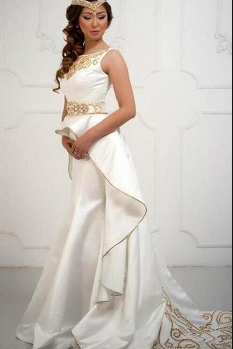 Elegant Saudi Arabic Jewel Neck Satin Long Prom Dresses Beaded Formal Evening Dresses Prom Gowns Special Occasion Dresses