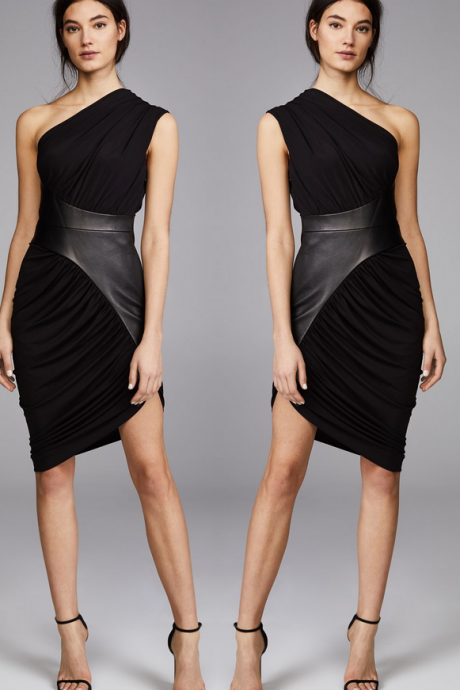 One Shoulder Black Homecoming Dress,Short Sleeveless Party Dress