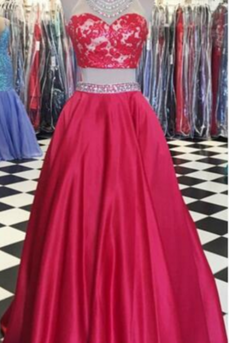 Cheap prom dresses Red Two Pieces Prom Dresses High Neck Sleeveless Beading,Evening Gowns,Formal Dress