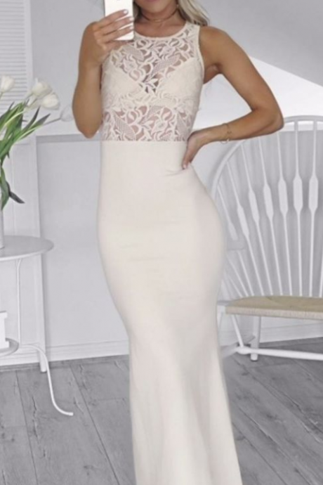 elegant ivory satin prom dress with lace, bodycon sleeveless long party dress with lace