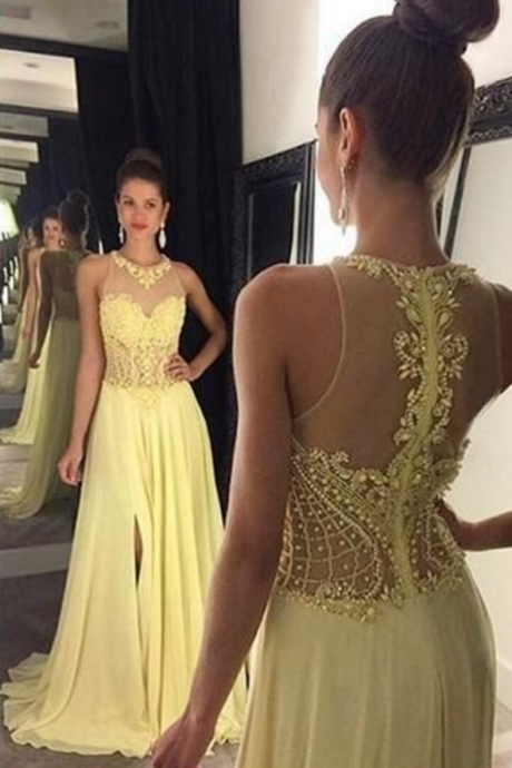 new style Charming Beading A-Line Prom Dresses, Floor-Length Evening Dress,yellow Prom Dresses
