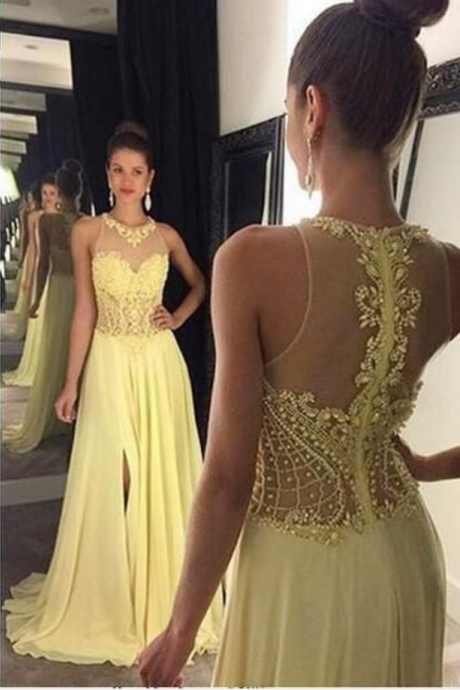 New Arrival Prom Dress,Sexy Prom Dress,Chiffon Prom Dress, Long Prom Dress, Yellow Evening Dress