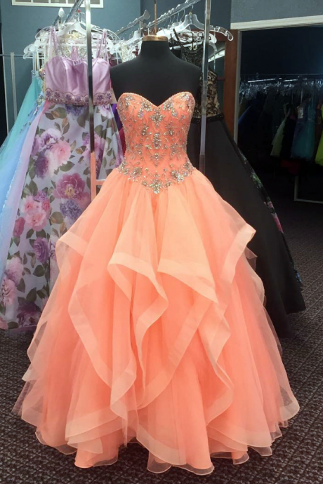 Beaded Prom Dress, Cheap Quinceanera Dresses, Elegant Prom Dress, A Line Prom Dress, Tulle Prom Dress, Elegant Prom Dress, Floor Length Prom Dress