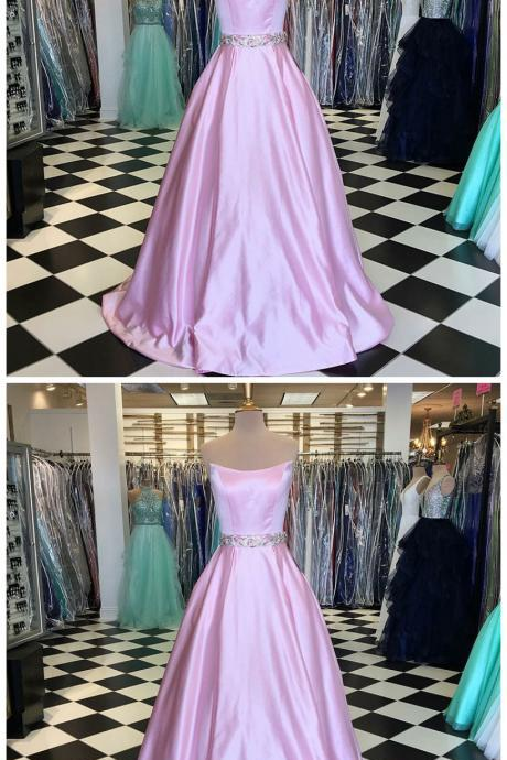 A-Line Strapless Sweep Train Pink Satin Prom Dress with Beading