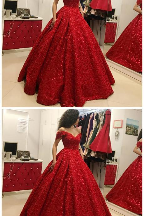 Ball Gown Off the Shoulder Floor-Length Red Satin Prom Dress