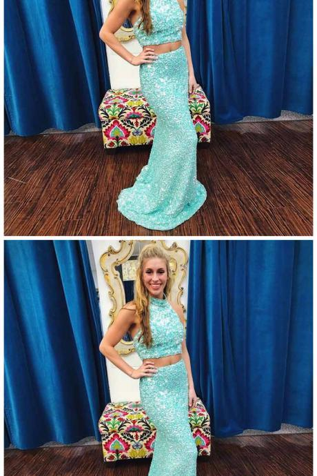 Two Piece Mermaid High Neck Sweep Train Mint Green Beaded Prom Dress with Lace