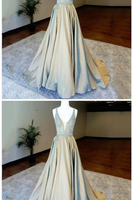 A-Line Deep V-Neck Floor-Length Light Champagne Prom Dress with Beading
