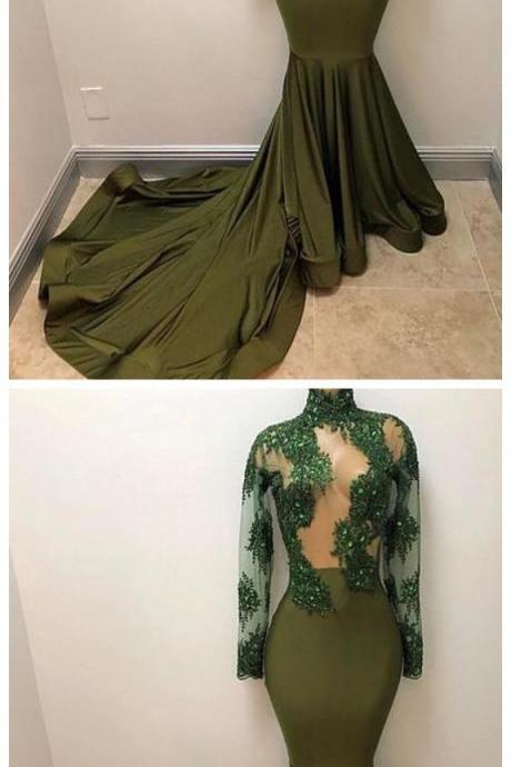 Sexy Seen Through Mermaid Long Sleeves High Neck Affordable Long Prom Dress