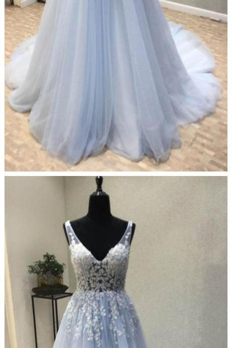 V Neck Applique Tulle Inexpensive Long Prom Dresses