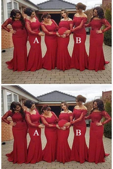 Mermaid Long Sleeves Mismatched Long Wedding Bridesmaid Dresses