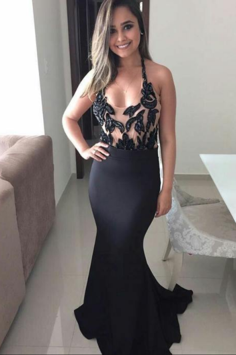Beaded Halter Prom Dress, Black Mermaid Evening Dress, Satin Long Party Dress