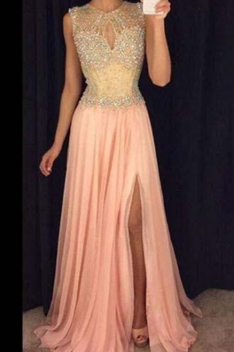 Pageant Dresses with Slit Pink Party Dresses Illusion Neck Side Split Beaded Spring New Arrival Evening Gowns