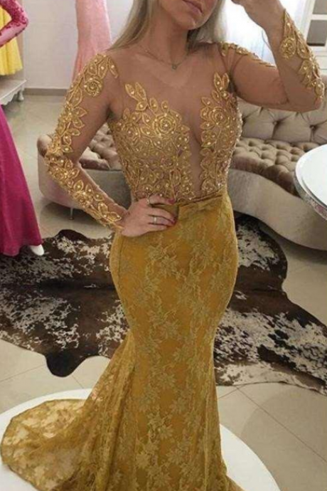 Arabic V Neck Gold Lace Appliques Mermaid Evening Dresses Pearls Sexy Illusion Back Long Sleeves Vestidos De Fiesta Prom Gowns