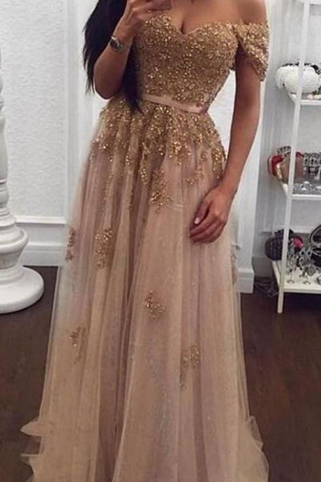 Hot Sell Champagne Lace Beaded Arabic Evening Dresses Sweetheart A-line Tulle Prom Dresses Vintage Cheap Formal Party Gowns