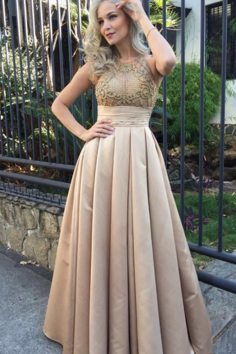Stunning champagne Prom Dress Prom Dresses Prom Gown
