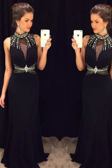 Black Halter Prom Dress,Long Prom Dresses,Charming Prom Dresses,Evening Dress Prom Gowns, Formal Women Dress
