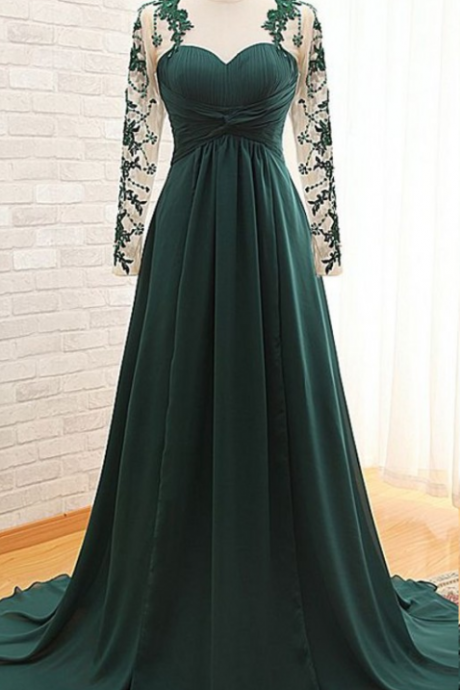 Dark Green Sexy Illusion Long Sleeves Mother of the Bride Groom Dresses Cheap Long Chiffon Evening Dress Formal Gowns Custom