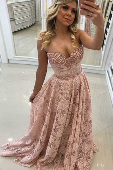 A-Line Sweetheart Sweep Train Pink Lace Prom Dress with Pearls
