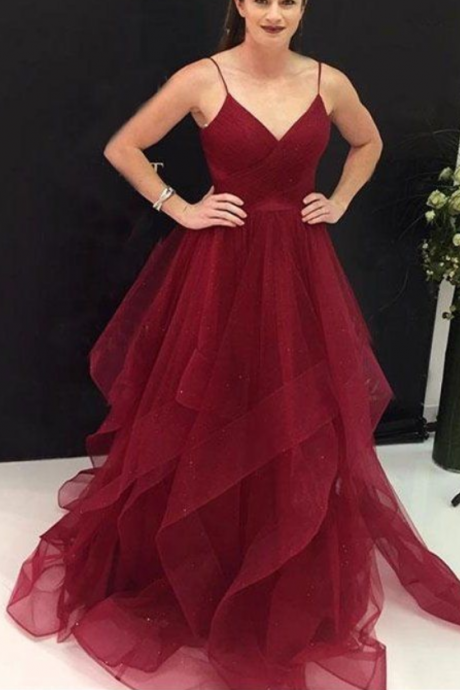 Spaghetti Long A-line Dark Red Prom Dresses