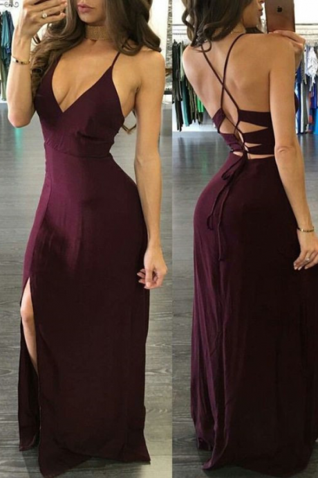 Charming Sheath V Neck Open Back Slit Burgundy Long Prom Dresses, Sexy Party Dresses