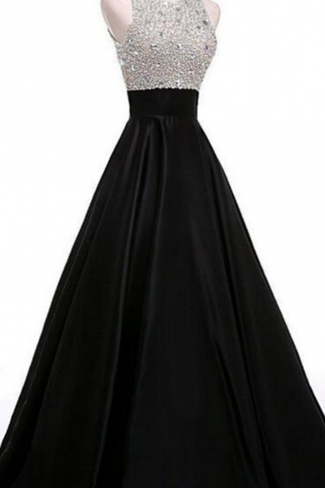 O-neckline Black Beading A-line Prom Dresses,Cheap Prom Dress,Prom Dresses For Teens,Satin Evening Dresses