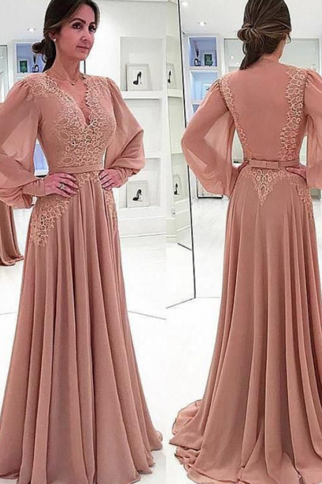A-line Chiffon V-Neck Long Sleeves Lace Mother of The Bride Dresses