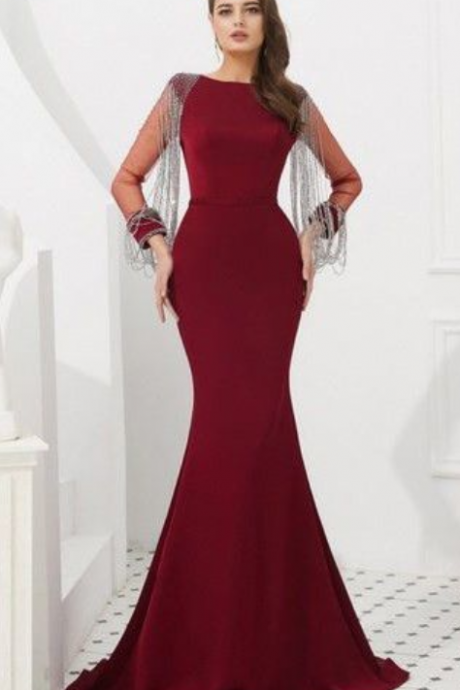 MERMAID BURGUNDY LONG PROM DRESSES LONG SLEEVE BATEAU GRADUACION EVENING GOWNS
