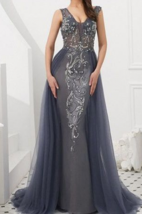 MERMAID GRAY LONG PROM DRESSES V NECK RHINESTONE EVENING GOWNS