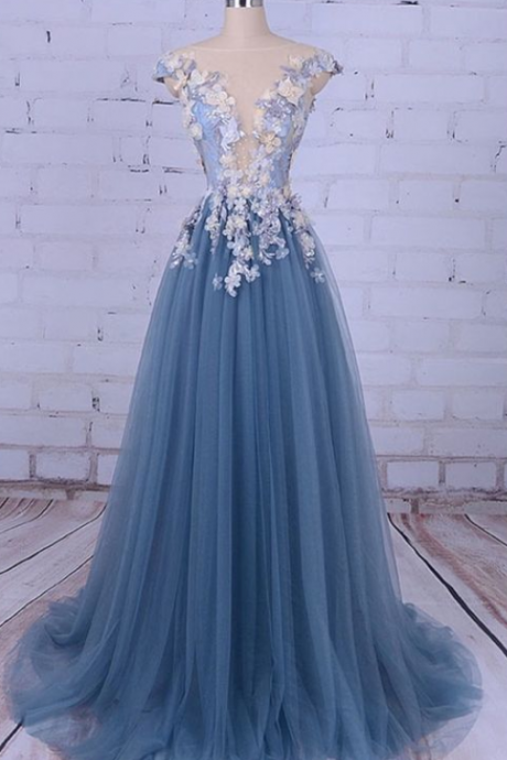 A Line Long Tulle Prom Dresses with Applique