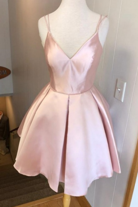 Hot Selling Spaghetti Straps V-neck Simple Pink Homecoming Dresses