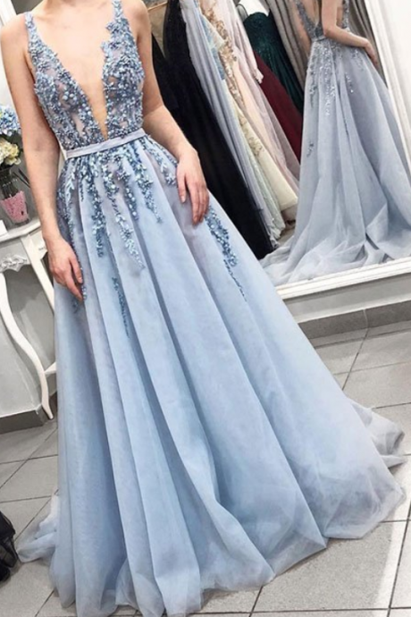 Gorgeous blue v neck tulle beaded long prom dress, blue evening dress