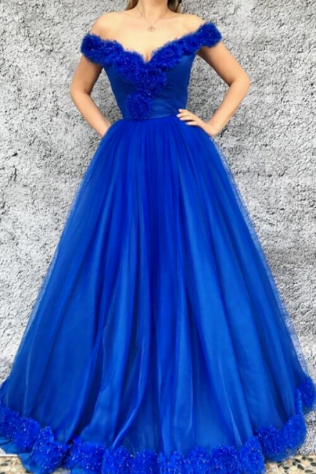 Fashion A-Line Off-The-Shoulder Royal Blue Long Prom/Evening Dress With Appliques
