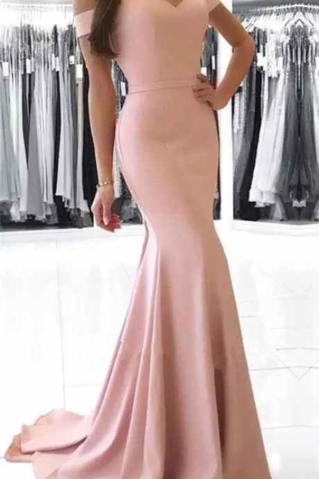 Cheap Blush Pink Mermaid Prom Dresses Long Off Shoulder Sexy Backless Floor Length Formal Dresses Evening Dresses robe de soiree