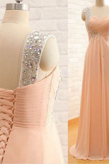 Custom Made Pink Chiffon Prom Dress,Sexy One Shoulder Evening Dress,Beading Party Gown/Bridesmaid Dress, High Quality