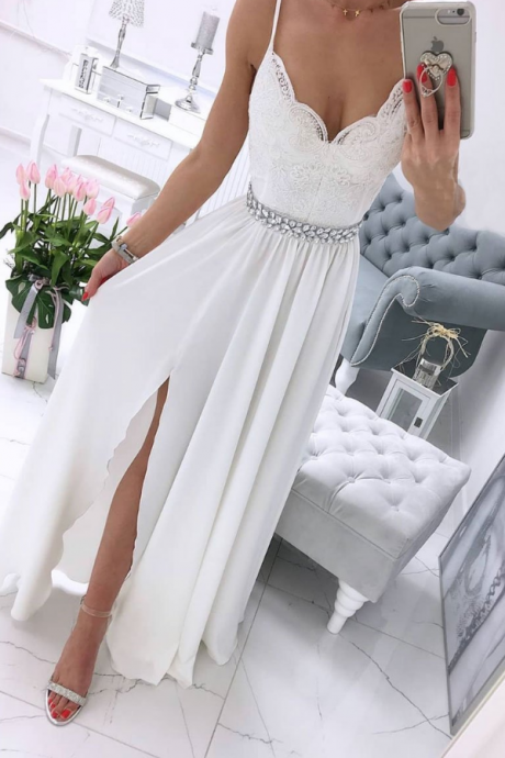 White v neck chiffon lace long prom dress,white formal ball dress,Appliques party dress