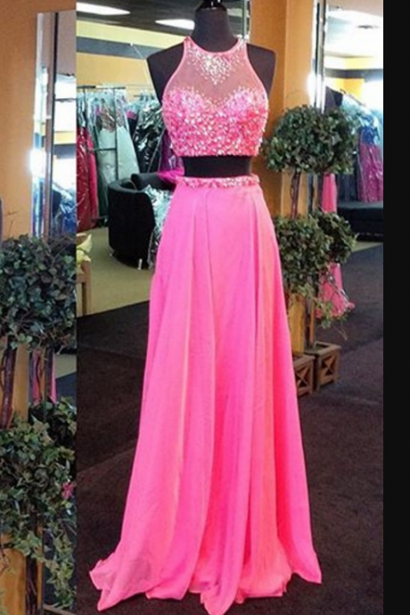 Two Pieces Prom Dress,Two Piece Evening Dress,2017 Prom Gown,2 pieces Party Dress,Long Prom Dress,Pink evening gowns