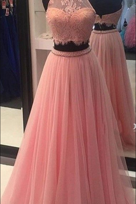New Arrival Sexy Long 2 pieces Prom Dresses,Evening Party Dress,Pink Prom Gowns,Lace Evening Gowns