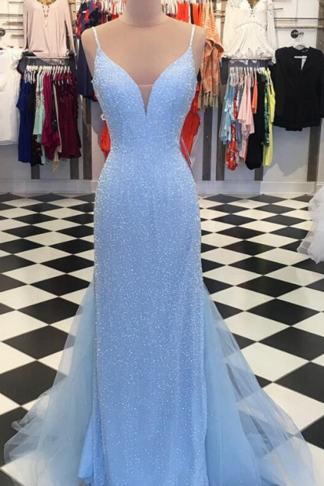Sparkly Sequins Blue Mermaid Long Prom Dress