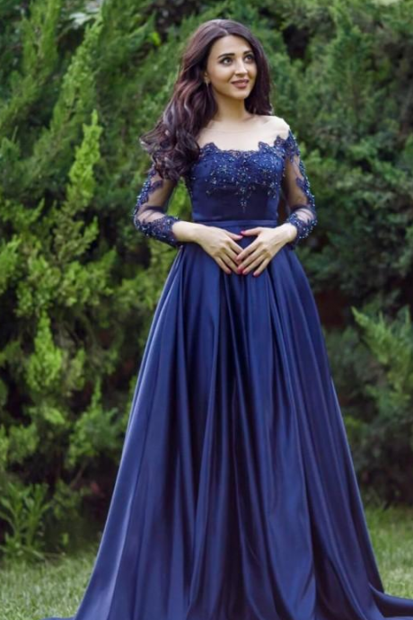 sexy plus size arabic lace formal prom dress long sleeves blue prom dresses evening gowns